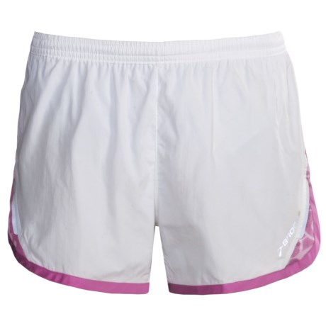 Brooks HVAC Synergy Running Shorts (For Women) in White/Berry