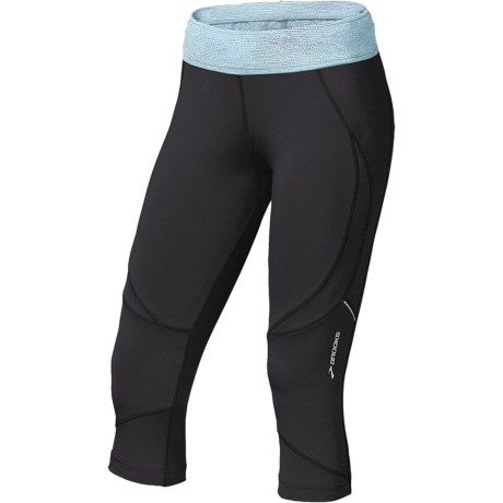 Brooks Infiniti Capri Tights (For Women) in Black/Seafoam Mist Print