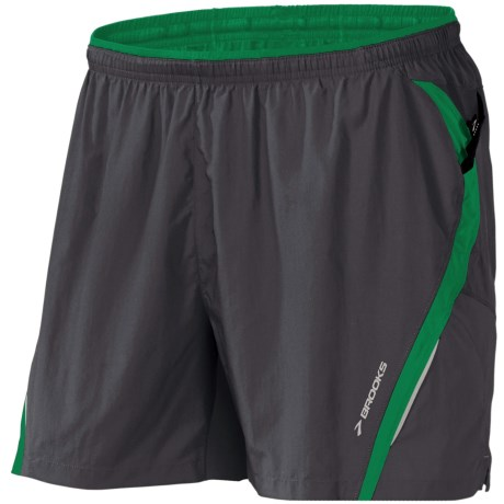 Brooks Infiniti II Notch Shorts - Built-In Mesh Brief (For Men) in Anthracite/Envy