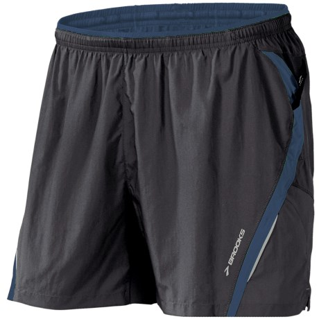 Brooks Infiniti II Notch Shorts - Built-In Mesh Brief (For Men) in Black/Baltic
