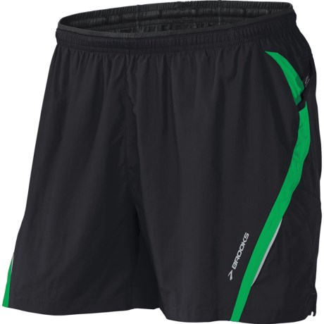 Brooks Infiniti II Notch Shorts - Built-In Mesh Brief (For Men) in Black/Fern