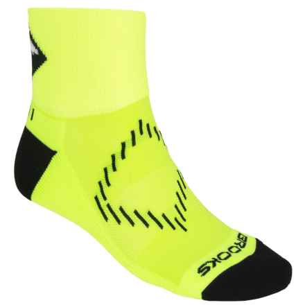 Brooks Infiniti Nightlife Socks - Ankle (For Men and Women) in Neon Yellow/Black/Glow - Closeouts