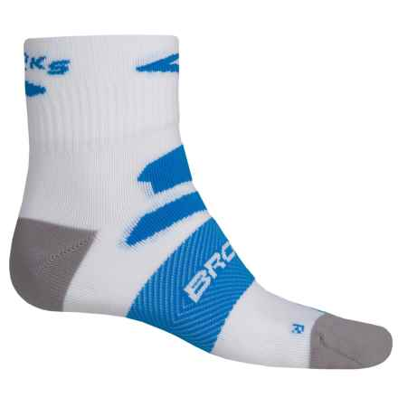 Brooks Infiniti Nightlife Socks - Quarter Crew (For Men and Women) in White/Brooks Blue - Closeouts