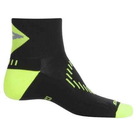Brooks Infiniti Nightlife Stretch Socks - Quarter Crew (For Men and Women) in Black/Neon Yellow - Closeouts