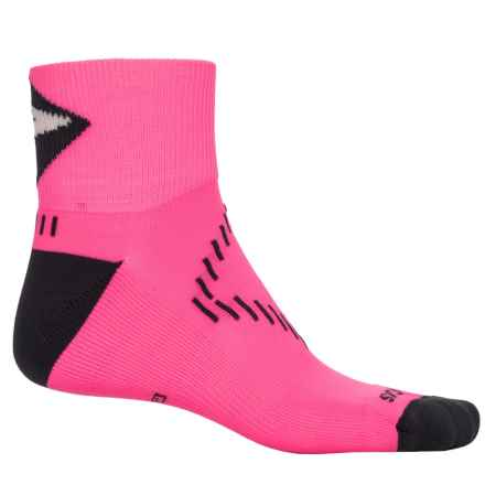 Brooks Infiniti Nightlife Stretch Socks - Quarter Crew (For Men and Women) in Bright Pink/Dark Grey - Closeouts