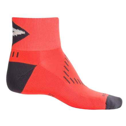 Brooks Infiniti Nightlife Stretch Socks - Quarter Crew (For Men and Women) in Neon Orange/Black - Closeouts