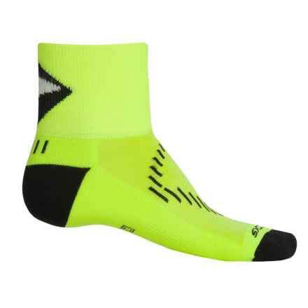 Brooks Infiniti Nightlife Stretch Socks - Quarter Crew (For Men and Women) in Neon Yellow/Black - Closeouts