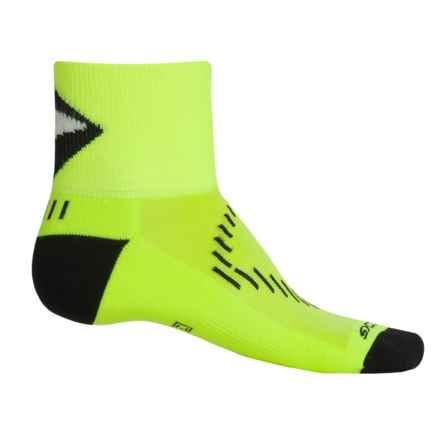 Brooks Infiniti Nightlife Stretch Socks - Quarter Crew (For Men and Women) in Neon Yellow/Black - Closeouts