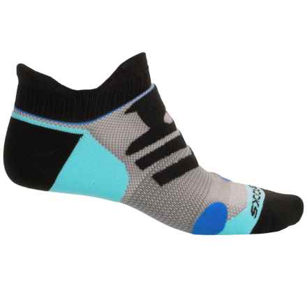 Brooks Infiniti Race Day Double-Tab Socks - Below the Ankle (For Men and Women) in Black/Blue/Aqua - Closeouts