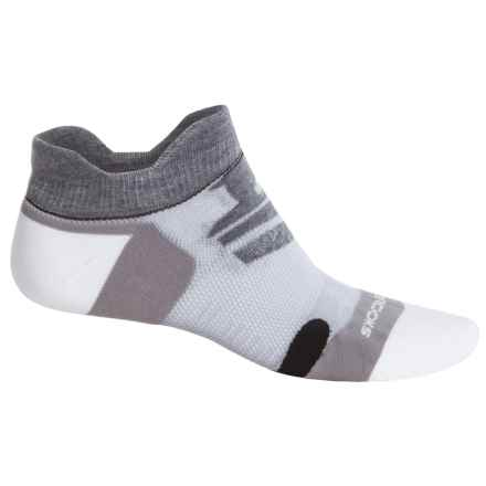Brooks Infiniti Race Day Double-Tab Socks - Below the Ankle (For Men and Women) in Grey/White/Black - Closeouts