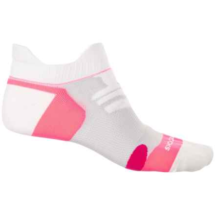 Brooks Infiniti Race Day Double-Tab Socks - Below the Ankle (For Men and Women) in White/Pom/Bright Pink - Closeouts