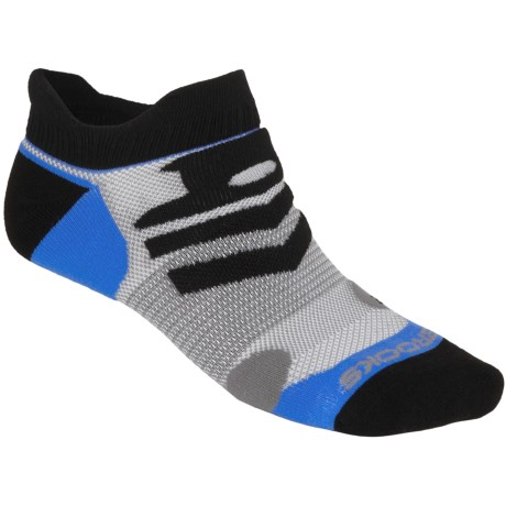 Brooks Infiniti Race Day Socks - Double Tab, Below-the-Ankle (For Men and Women) in Black/Galaxy/Grey