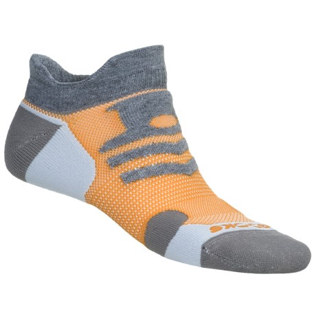 Brooks Infiniti Race Day Socks - Double Tab, Below-the-Ankle (For Men and Women) in Grey/White/Black