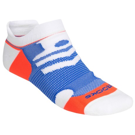 Brooks Infiniti Race Day Socks - Double Tab, Below-the-Ankle (For Men and Women) in White/Blue/Orange