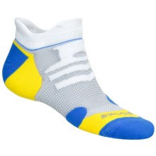 Brooks Infiniti Race Day Socks - Double Tab, Below-the-Ankle (For Men and Women) in White/Brooks Blue/Gail/Yellow - 2nds