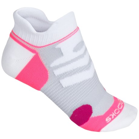 Brooks Infiniti Race Day Socks - Double Tab, Below-the-Ankle (For Men and Women) in White/Pink