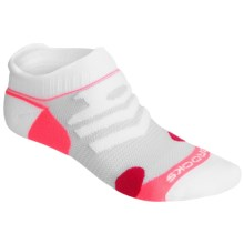 Brooks Infiniti Race Day Socks - Double Tab, Below-the-Ankle (For Men and Women) in White/Pomegranate/Bright Pink - 2nds