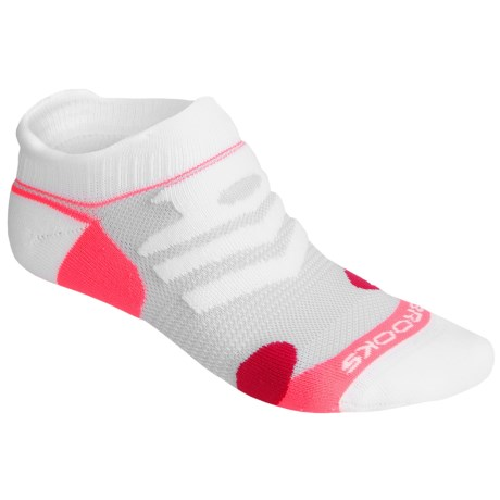 Brooks Infiniti Race Day Socks - Double Tab, Below-the-Ankle (For Men and Women) in White/Pomegranate/Bright Pink
