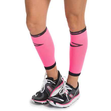 Brooks Infiniti Run Happy Compression Calf Sleeves (For Men and Women) in Bright Pink - Closeouts