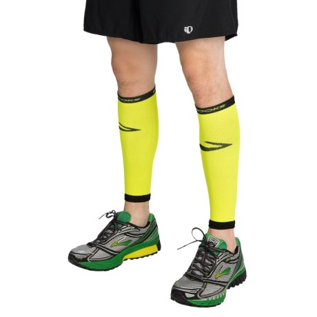 Brooks Infiniti Run Happy Compression Calf Sleeves (For Men and Women) in Neon Yellow