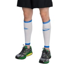 Brooks Infiniti Run Happy Compression Calf Sleeves (For Men and Women) in White/Blue - Closeouts