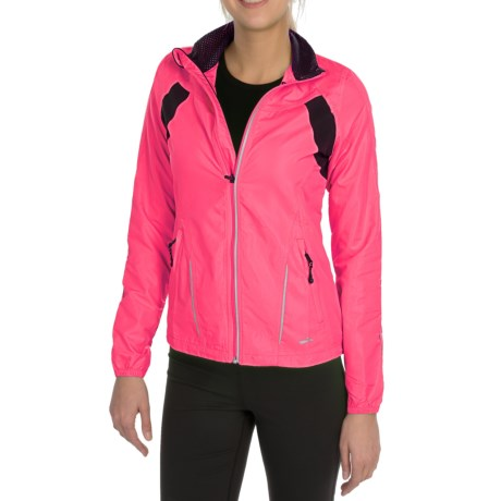 Brooks Nightlife Essential Run Jacket  II (For Women) in Brite Pink/Anthracite