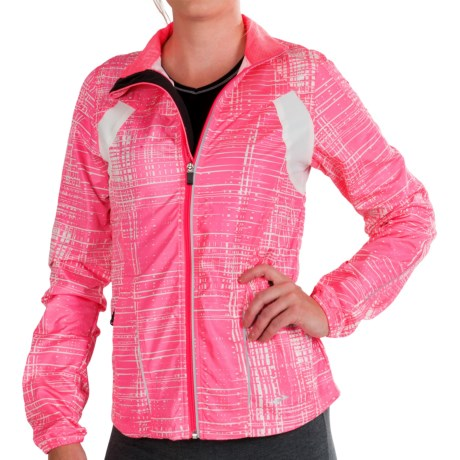 Brooks Nightlife Essential Run Jacket  II (For Women) in Brite Pink Hatch