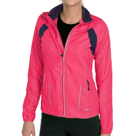 Brooks Nightlife Essential Run Jacket  II (For Women) in Brite Pink/Midnight