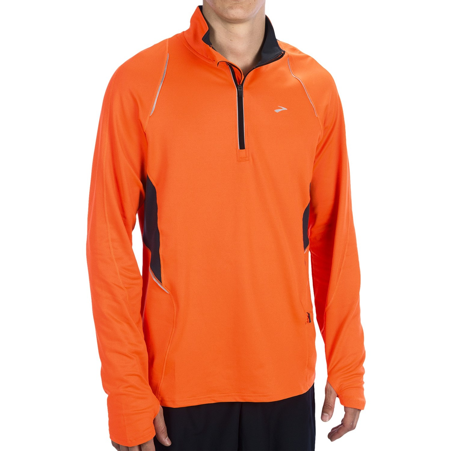 Brooks nightlife infiniti pullover shirt zip neck long for Mens long sleeve pullover shirts