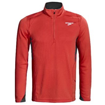 Brooks Podium II Pullover - Zip Neck, Midweight, Long Sleeve (For Men) in Power Red