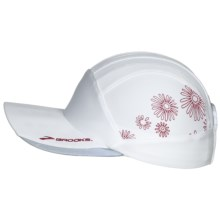Brooks Printed Mesh Running Cap (For Men and Women) in White/Cerise - Closeouts