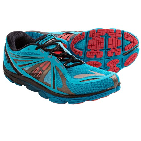 Brooks PureCadence 3 Minimalist Running Shoes (For Men) in Caribbean Sea/Black/High Risk Red