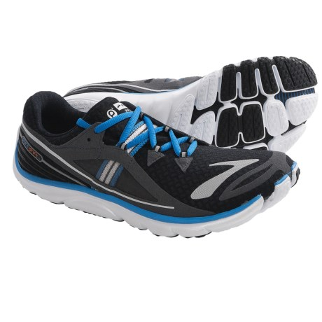 Brooks PureDrift Running Shoes - Minimalist (For Men) in Black/Anthracite/Electric Blue/Shocking Orange