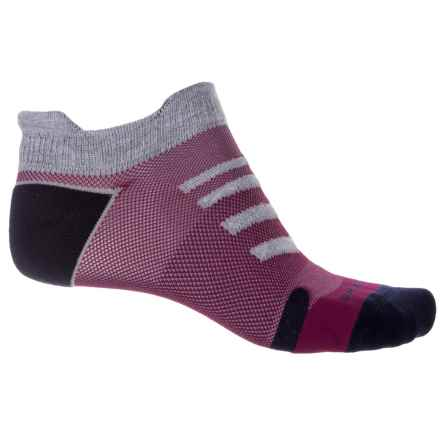 Brooks Ravenna Double Tab Running Socks - Below the Ankle (For Men and Women) in Asphalt/Red - Closeouts
