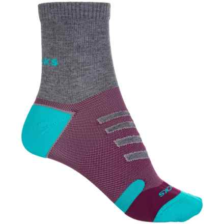 Brooks Ravenna Socks - Quarter Crew (For Men and Women) in Oxford/Currant/Teal - Closeouts