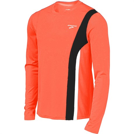 Brooks Rev II Shirt - Long Sleeve (For Men) in Brite Orange/Anthracite