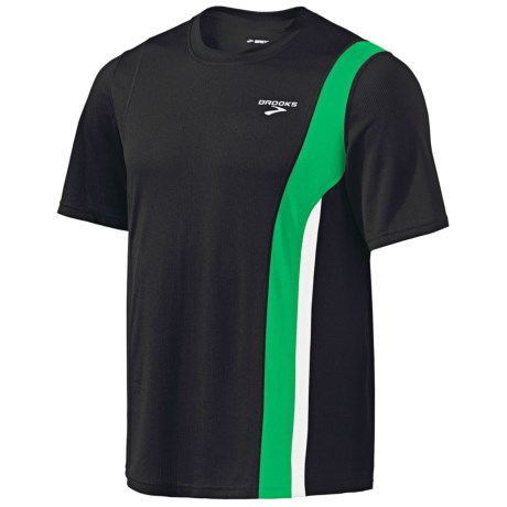 Brooks Rev II Shirt - Short Sleeve (For Men) in Black/Fern