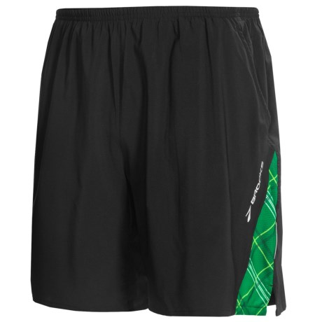 Brooks Rogue Runner III Shorts - Built-In Inner Briefs (For Men) in Black/Envy Plaid