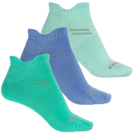 Brooks Run In Three Double-Tab Socks - 3-Pack, Below the Ankle ( For Men and Women) in Glass/Cornflower/Lagoon