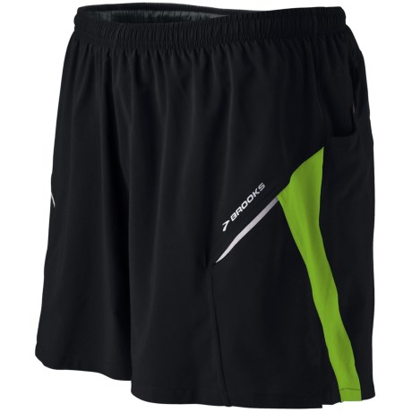 Brooks Sherpa 2-in-1 Shorts (For Men) in Black/Brite Green