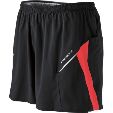 Brooks Sherpa 2-in-1 Shorts (For Men) in Black/Lava