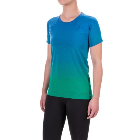 Brooks Streaker Running T-Shirt - Fitted, Short Sleeve (For Women) in Wave/Parque