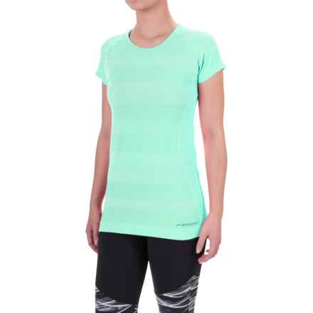 Brooks Streaker Shirt - UPF 30+, Short Sleeve (For Women) in Heather Surf - Closeouts
