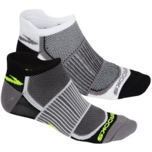 Brooks Training Day Mesh Socks - 2-Pack, Below the Ankle (For Men and Women) in White/Black - Closeouts