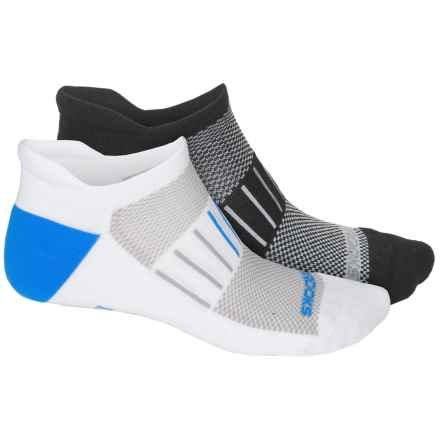 Brooks Training Day Tab Lite Socks - 2-Pack, Below the Ankle (For Men and Women) in Black Graphite/White Blue - Closeouts