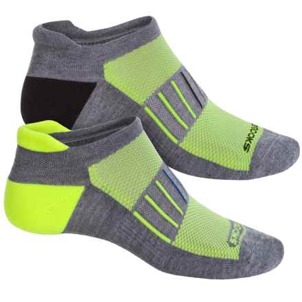 Brooks Training Day Tab Lite Socks - 2-Pack, Below the Ankle (For Men and Women) in Grey/Neon Yellow/Grey/Black - Closeouts