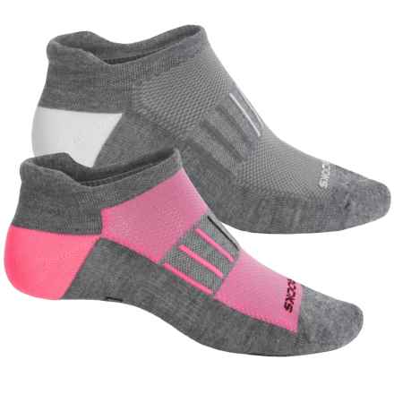Brooks Training Day Tab Lite Socks - 2-Pack, Below the Ankle (For Men and Women) in Grey/Pink/Grey/White - Closeouts