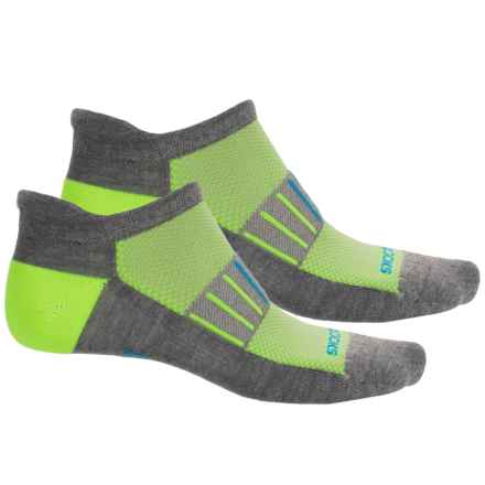 Brooks Training Day Tab Lite Socks - 2-Pack, Below the Ankle (For Men and Women) in Heather Grey/Neon Yellow/Brooks Blue - Closeouts