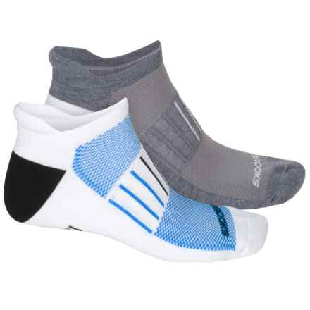 Brooks Training Day Tab Lite Socks - 2-Pack, Below the Ankle (For Men and Women) in White Blue/Grey White - Closeouts