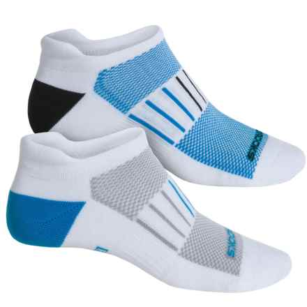 Brooks Training Day Tab Lite Socks - 2-Pack, Below the Ankle (For Men and Women) in White/Blue/White/Black - Closeouts